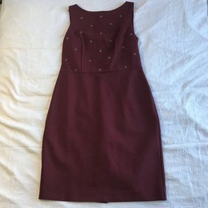 Ann Taylor Dress Burgundy Bejeweled Career Work